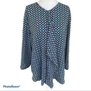 Van Heusen Blouse 3/4 sleeve Ruffle women Sz XL